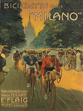 BICICLETTE MARCA MILANO BICYCLE RACING BIKE ITALY ROAD CYCLING SPORT LARGE VINTAGE POSTER REPRO ()