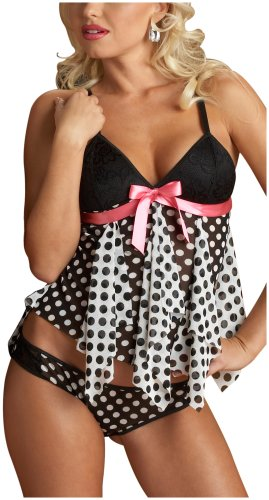 Escante Women's Plus Size Polka Dot Baby Doll, Black/White, 1X