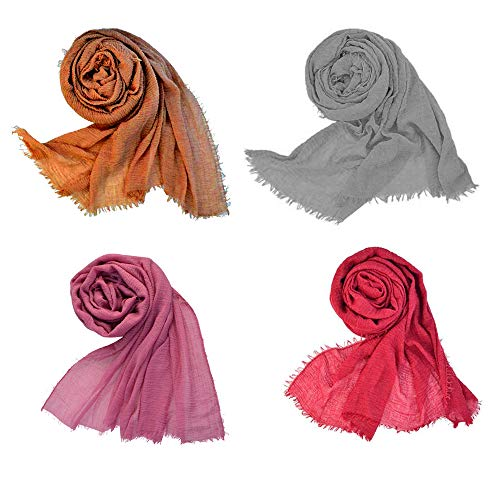 Women Cotton Hemp Scarf Travel Sunscreen Soft Shawl Long Scarves Muslin Head Scarves Pure Color 4pcs