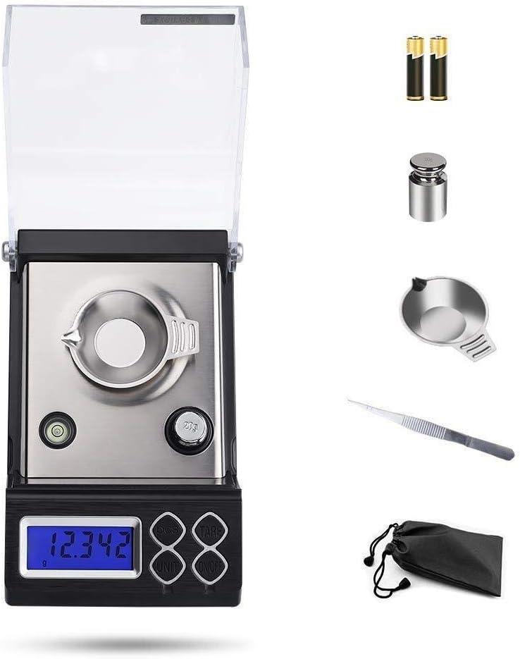 Zzaoxin Balanza electrónica Báscula Digital de Bolsillo de miligramos de Alta precisión 20 x 0,001g Balanzas analíticas de Laboratorio Báscula de Alta sensibilidad Recarga portátil Platos de pesaje