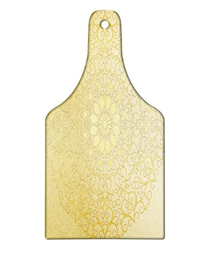 Ambesonne Mandala Cutting Board, Round Antique Motif Curvy Stylized Ornate Heart Shape Arabesque Influences, Decorative Tempered Glass Cutting and Serving Board, Wine Bottle Shape, Yellow Pale Yellow by Ambesonne