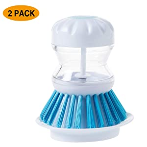 Dish Scrubber with Soap Dispenser for Dishes Pot Pan Kitchen Sink Cleaning, Blue 2 Pcs