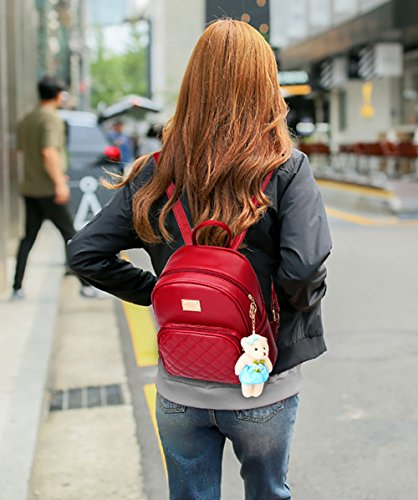 Backpack Girls Casual Womens Red Daypacks Bags Purse for Satchel Travel School Leather qqnrCZ5