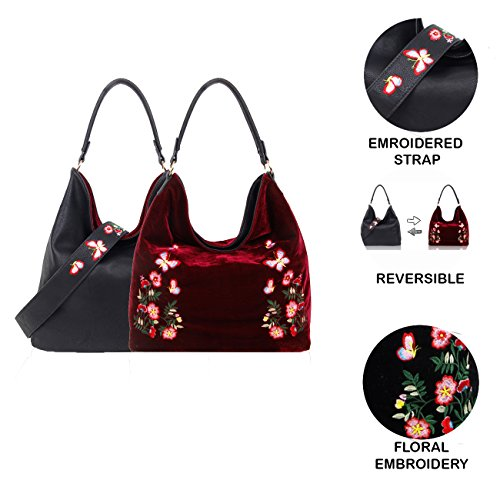 Pink Tote Pu Hobo Foxlady Embroidery Women's Reversible Large Shoulder Hanbag Bag Tan Floral Velvet Shopper wqqOXFxZ