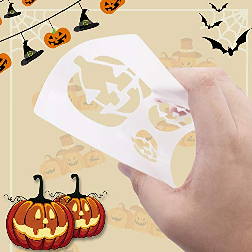 Koogel 18 PCS Halloween Stencils, 5.3 Inch Halloween DIY Decorative Stencils Painting Stencils Fall Stencils for DIY Card/ Craft Art Drawing Painting Spraying/ Window/ Glass/ Wood/Airbrush/Walls Art