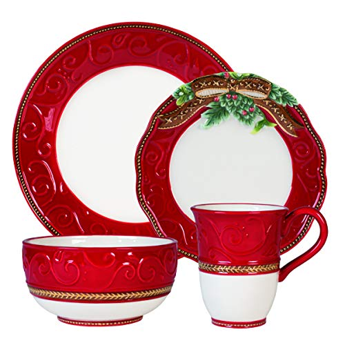 Fitz and Floyd 80-270 Yuletide Holiday 16-Piece Dinnerware Set Service for 4 Red/White