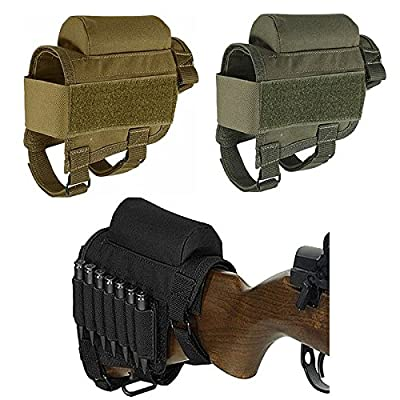 FIRECLUB Rifle Buttstock, Hunting Shooting Tactical Cheek Rest Pad Ammo Pouch with 7 Shells Holder