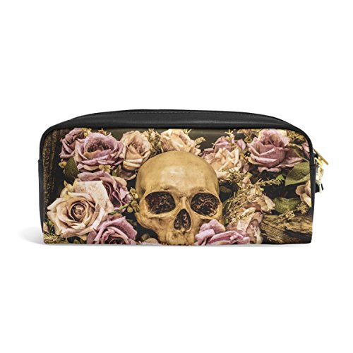 ALAZA Pink Rose Flower Day of the Dead Sugar Skull PU Leather Pen Pencil Case Pouch Case Makeup Cosmetic Travel School Bag (Pink Skull Coin Purse)