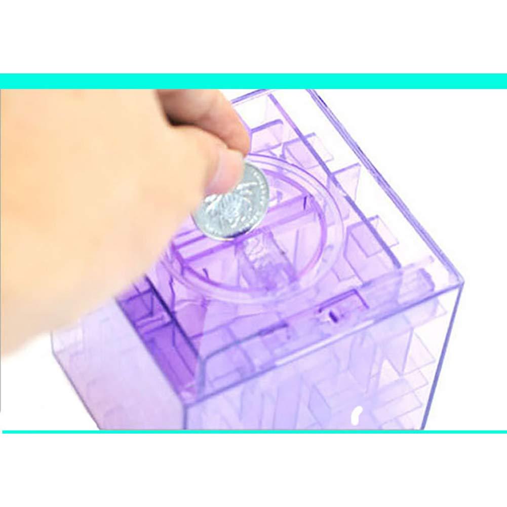 Gcroet 1PC Money Maze Puzzle Box 3D Gravity Maze Bead Marble Ball Magic Maze Ball for Money Holder and Brain Teaser Pink