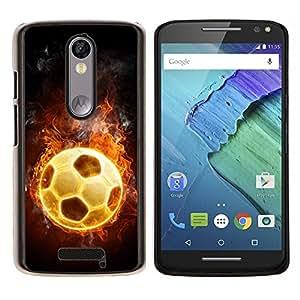 EJOOY---Cubierta de la caja de protección para la piel dura ** Motorola Moto X3 3rd Generation ** --Universo Fútbol Fuego caliente Juego Flames