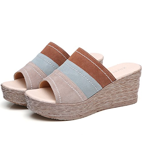 Baviue Women's Leather Fashion Sandles Wedge Wedge Sandles Sandals B07BFFVS15 Parent 7fa5a7