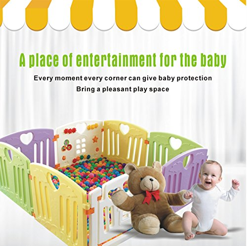 Baby Playpen Kids Activity Centre Safety Play Yard Home Indoor Outdoor New Pen (multicolour, Pudding set 8 panel) by Gupamiga (Image #9)