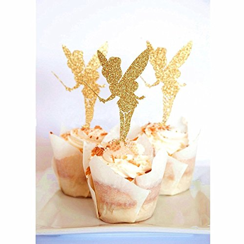 20pcs Cake Inserted Card Angel Fairy Cake Topper Glitter Paper Pick Party Favor Wedding Birthday Cake Decor