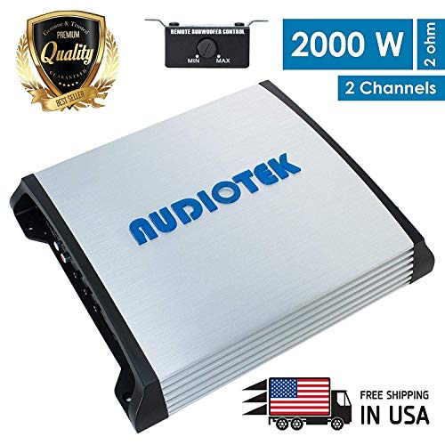 Audiotek AT920S 2000W 2 Channel Class A/B 2 Ohm Stable Car Audio Stereo Amplifier w/LED Indicator