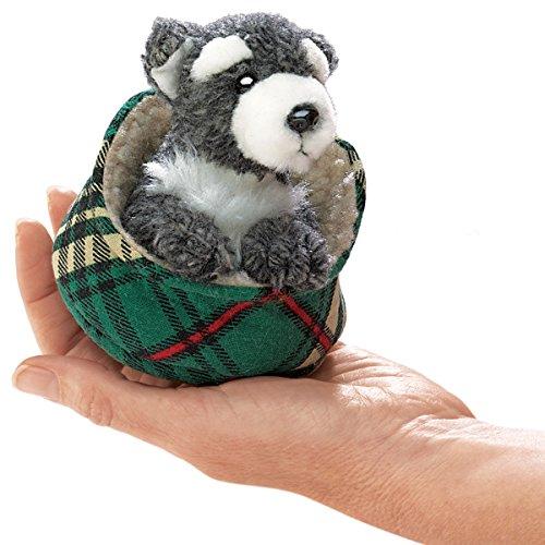 Folkmanis Mini Schnauzer in Bed Finger Puppet