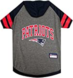 NFL NEW ENGLAND PATRIOTS HOODIE for DOGS & CATS. | NFL FOOTBALL licensed DOG HOODY Tee Shirt, Small | Sports HOODY T-Shirt for Pets | Licensed Sporty Dog Shirt.