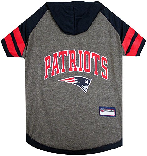 NFL New England Patriots Hoodie for Dogs & Cats. | NFL Football Licensed Dog Hoody Tee Shirt, Medium| Sports Hoody T-Shirt for Pets | Licensed Sporty Dog Shirt.