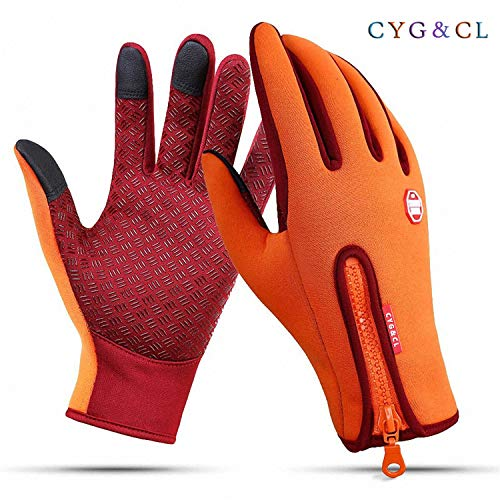 CYG&CL Outdoor Winter Touchscreen Waterproof Warm Adjustable Size Gloves for Running, Hiking, Clamming, Skiing, Cycling, Driving for Men & Women (Extra Large, Orange)