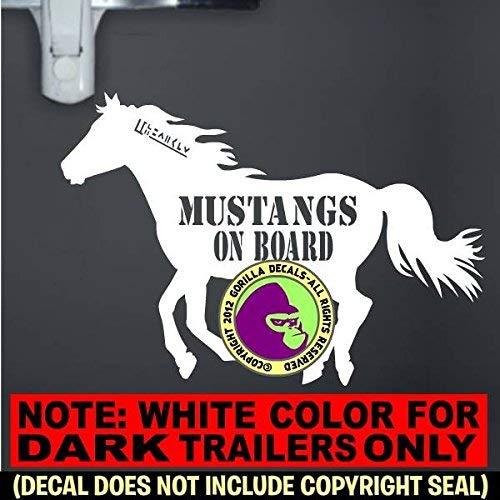MUSTANGS ON BOARD Caution Trailer Vinyl Decal Sticker E