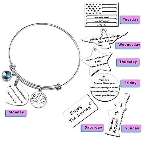 Inspirational Bracelet Bangle 7 Charms Expandable Stackable Pendant Stainless Steel Positive Quote Message Engraved Motivational Saying Jewelry Gift Sets for Women Teen Girls Sister Mother Friends