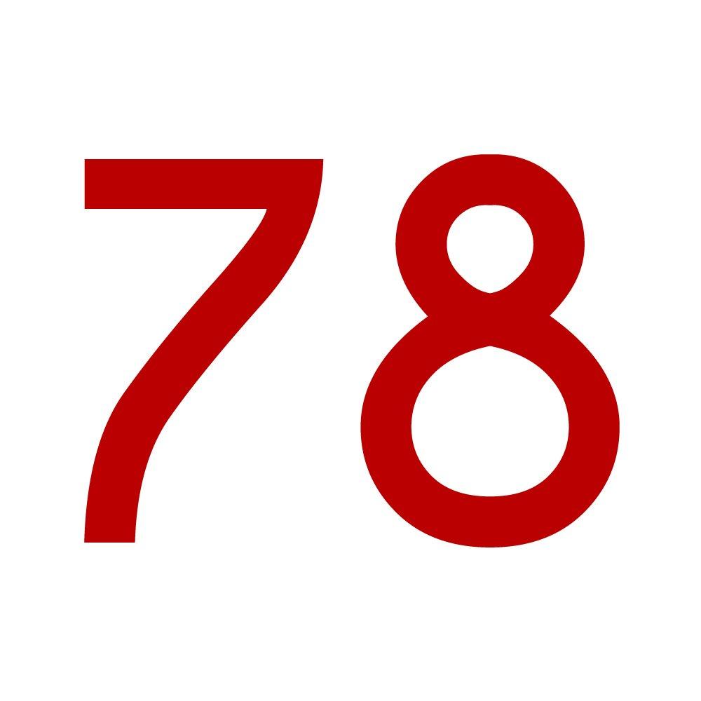 Zahlenaufkleber Nummer 78, gold, 2cm (20mm) hoch, Aufkleber mit Zahlen in vielen Farben + Hö hen, wetterfest 1peak