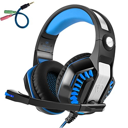 Gaming Over-Ear Headset with Mic, LED Lights and Volume Control Stereo Bass, Noise Cancelling, 3.5mm, for PS4 Xbox One, Laptop, PC, Tablet, Most Smartphones (Blue) ()