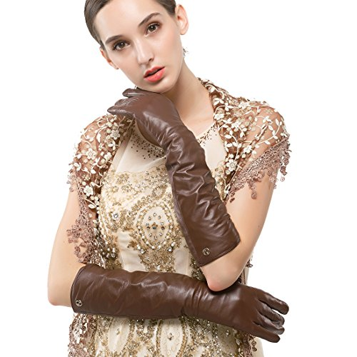 Nappaglo Women's Long Nappa Leather Gloves Touchscreen Texting Evening Dress Party Winter Warm Mittens (M (Palm Girth:7.2