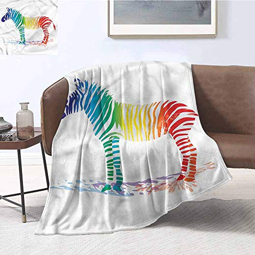 DILITECK Throw Blanket Funny Zebra Rainbow Colors Lightweight Thermal Blankets W60 xL80 Traveling,Hiking,Camping,Full Queen,TV,Cabin