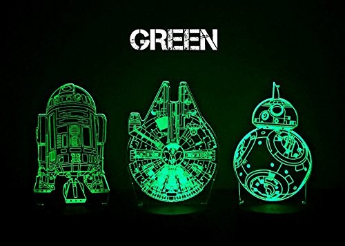 3 Pack Star Wars 3D Night Light Touch Table Desk Lamp, KMAcreations 7 Colors 3D Optical Illusion Lights with 3 Acrylic Flat & ABS Base & USB Cabler, Includes R2D2, BB-8, Milennium Falcon