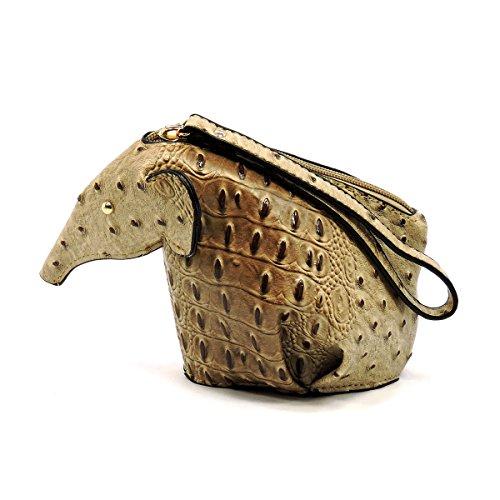 Ostrich Croc Origami Elephant Cosmetic Clutch Handbag (Stone)