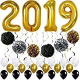 Gold 2019 Balloons Decorations Banner – Large, Pack of 49 | Gold Black Silver Hanging Party Swirls, Paper Pomppoms and Balloon | Graduations Party Supplies, New Years Eve Party Supplies 2019