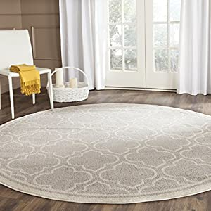 Safavieh Amherst Collection AMT412B Light Grey and Ivory Indoor/ Outdoor Round Area Rug (5