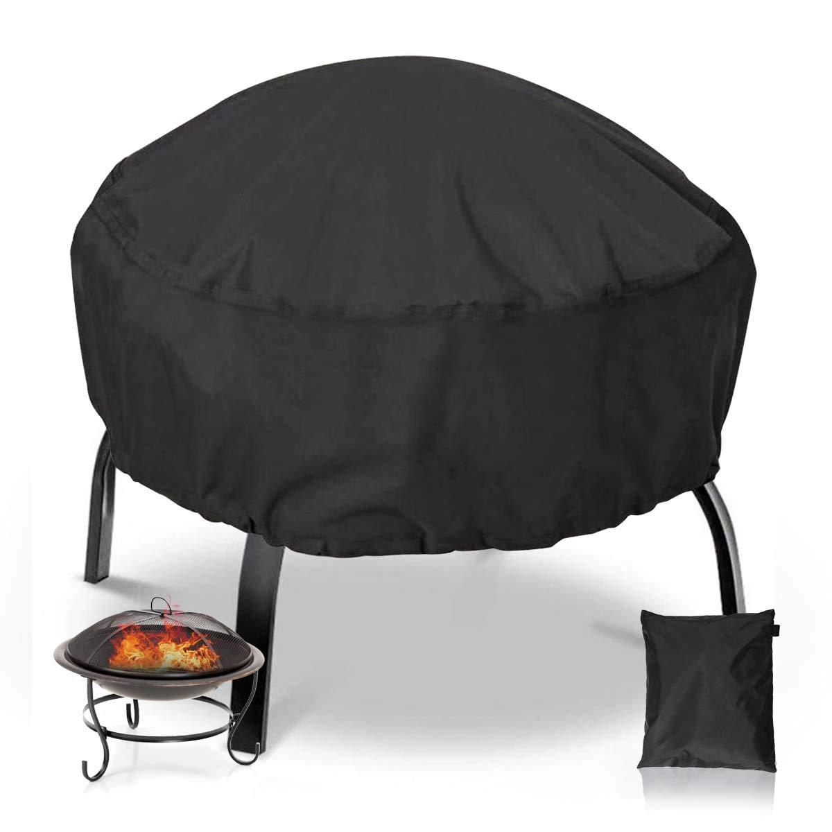 NASUM Fire Pit Cover Round 36x36 Inch Waterproof 420D Heavy Duty Round Patio Fire Bowl Cover Round Firepit Cover with Thick PVC Coating - Black