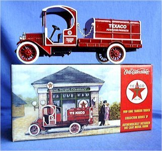 1/28 Scale Die Cast Metal 1919 Texaco GMC Tanker Truck Bank by Ertl Collectibles