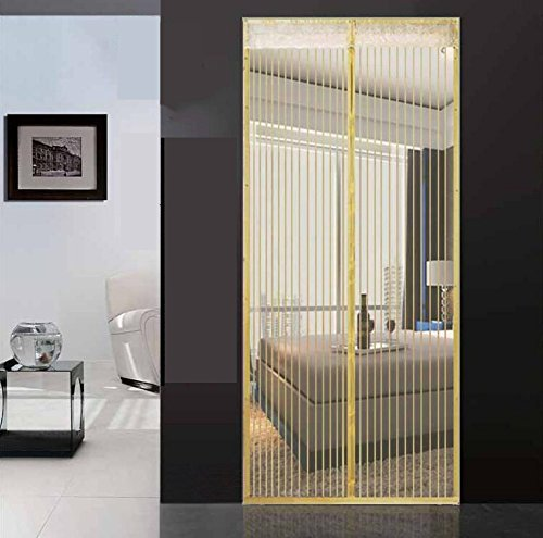Mute full frame velcro mosquito magnetic screen door,Heavy duty mesh screen bedroom stripe screen door mesh snap shut automatically screen door-beige 110x220cm(43x87inch)