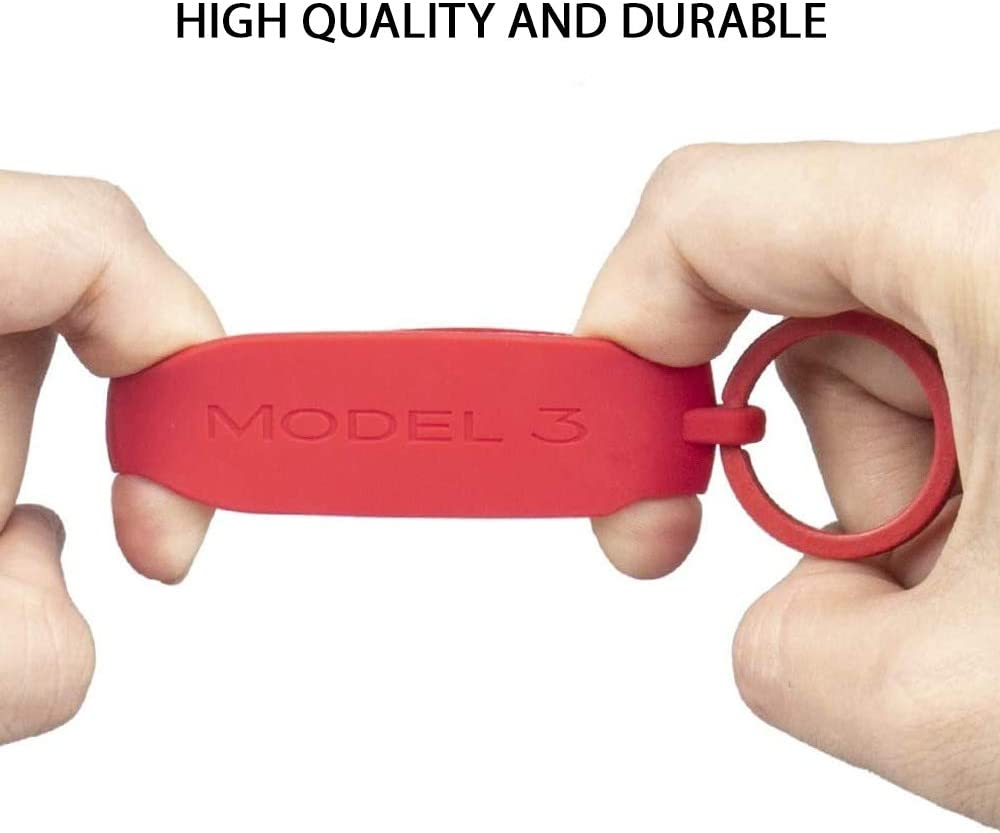 1 Piece Red CoolKo Silicon Key Fob Keychain Holder Compatible with Tesla Model 3 and Y Key Fob Cover