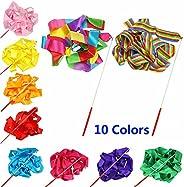 Smartlife15 10 Colors Gymnastic Dance Ribbon Streamer 4M Dancing Baton Gym Rhythmic Ribbons with Wand Art Arti