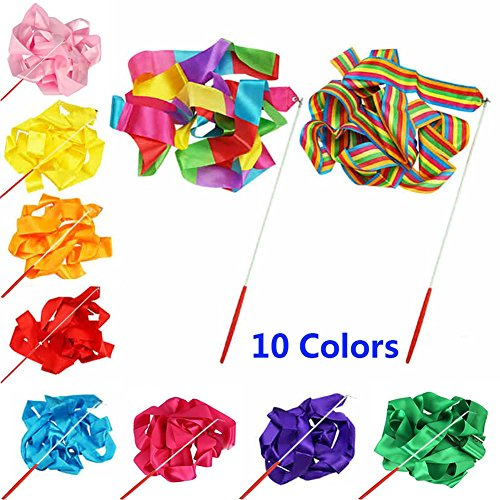 (Smartlife15 10 Colors Gymnastic Dance Ribbon Streamer 4M Dancing Baton Gym Rhythmic Ribbons with Wand Art Artistic Gymnastics Ballet Twirling Rod Stick for Women Girls Kids)