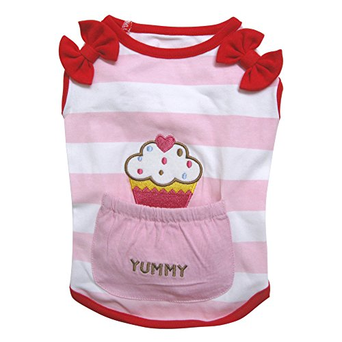 FAB Pupwear Adorable Soft Knit Cotton Yummy Cupcakes Shirt with Bows/for Small Dogs (X-Large)