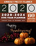 5 Year Planner 2020-2024: 2020-2024 Monthly Planner Calendar | 5 Year Planner for 60 Months with internet record page | happy thanksgiving decorations design