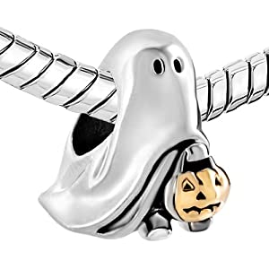 Charmed Craft Halloween Charms Ghost Charms Pumpkin Candy Beads Charms for Bracelets