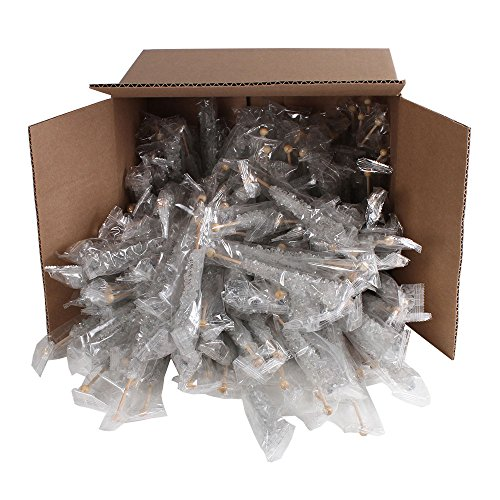 Extra Large Rock Candy Sticks (22g): 144 Silver Rock Candy Sticks - Original Flavor - Individually Wrapped for Party Favors, Candy Buffet, Showers, Receptions, Old Fashioned Bulk Candy on a Stick