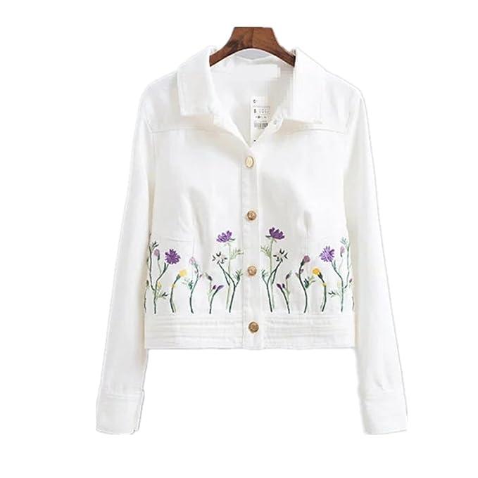 Las mujeres de moda bordado flor Denim chaqueta perchero de ...