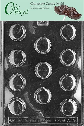 Cybrtrayd AO032 Medium Peanut Butter Cup Chocolate Candy Mold with Exclusive Cybrtrayd Copyrighted Chocolate Molding Instructions