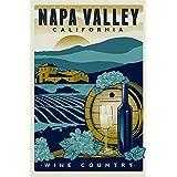 MAGNET 3x5 inch Vintage Art NAPA Valley California Wine Country Sticker (ca Travel rv) Magnetic vinyl bumper sticker sticks to any metal fridge