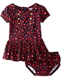 Baby Girls Heart Print Knit Dress and Panty Set