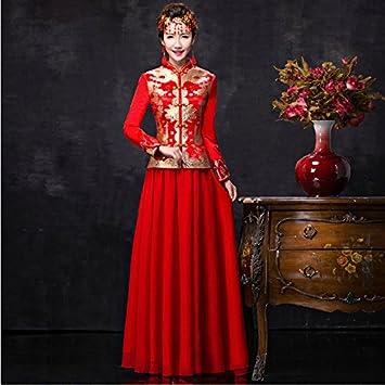 Chinese Wedding Dress Dress cheongsam Gown Red Bride Dragon Guyivvu uOkPZXi