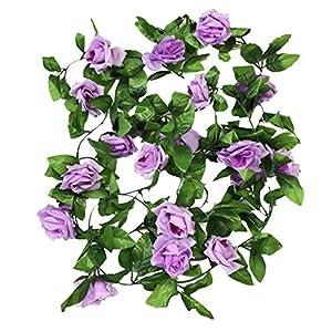 Crt Gucy 2 Pack 15 FT Fake Rose Vine Flowers Plants Artificial Flower for Home Hotel Office Wedding Party Garden Craft Art Décor, Light Purple 13