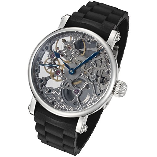 (Rougois Hand Wind Mechanical Watch with Rubber Strap)