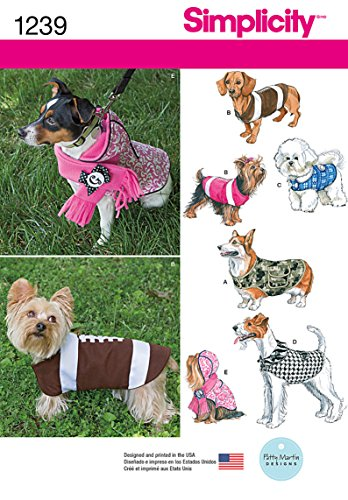 Simplicity 1239 Dog Coat Sewing Pattern, Fits Small, Medium, and Large Size Dogs